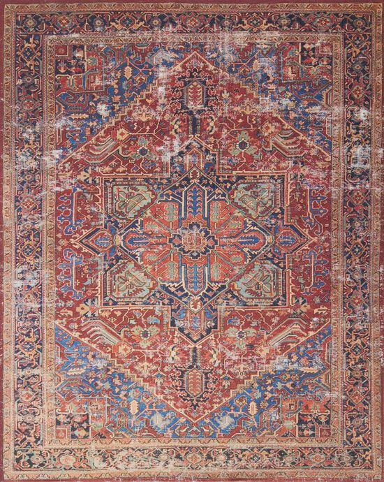"""Traditional 1'-6""""x1'-6"""" Square Rug in Red/Blue"""