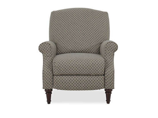 "Diamond-Patterned 32"" High-Leg Pressback Recliner in Brown"
