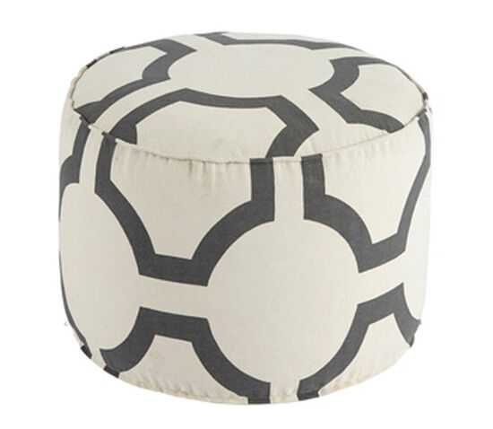 "Geometric Pattern Traditional 20"" Pouf in Gray"