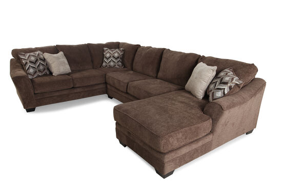"Three-Piece Contemporary 101"" Sectional in Dark Brown"