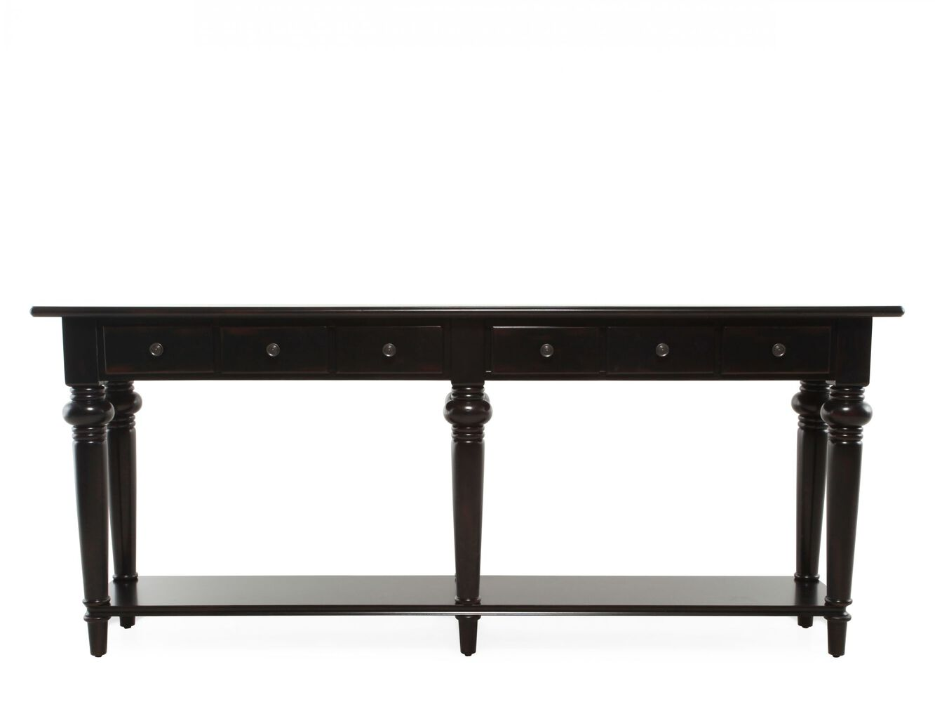Six drawer traditional thin console table in black for Thin side table