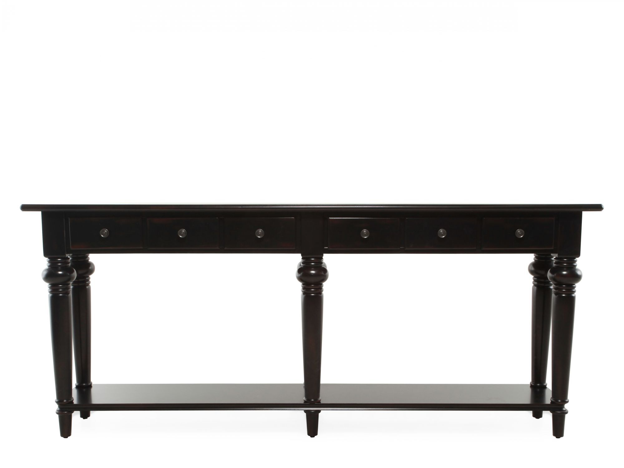 Six Drawer Traditional Thin Console Table In Black