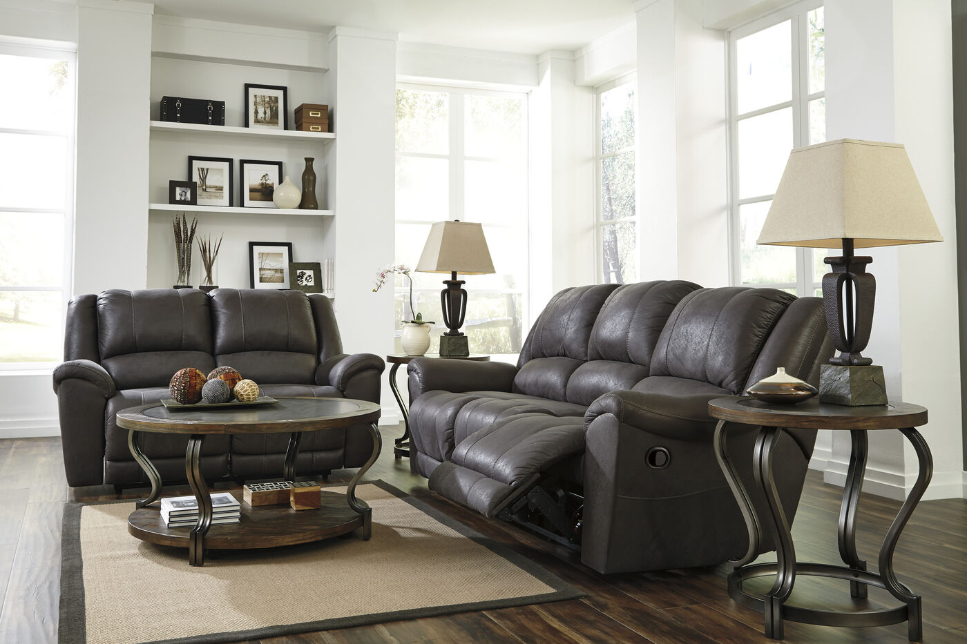 Contemporary Dual Reclining 91 Sofa In Dark Gray Mathis Brothers Furniture