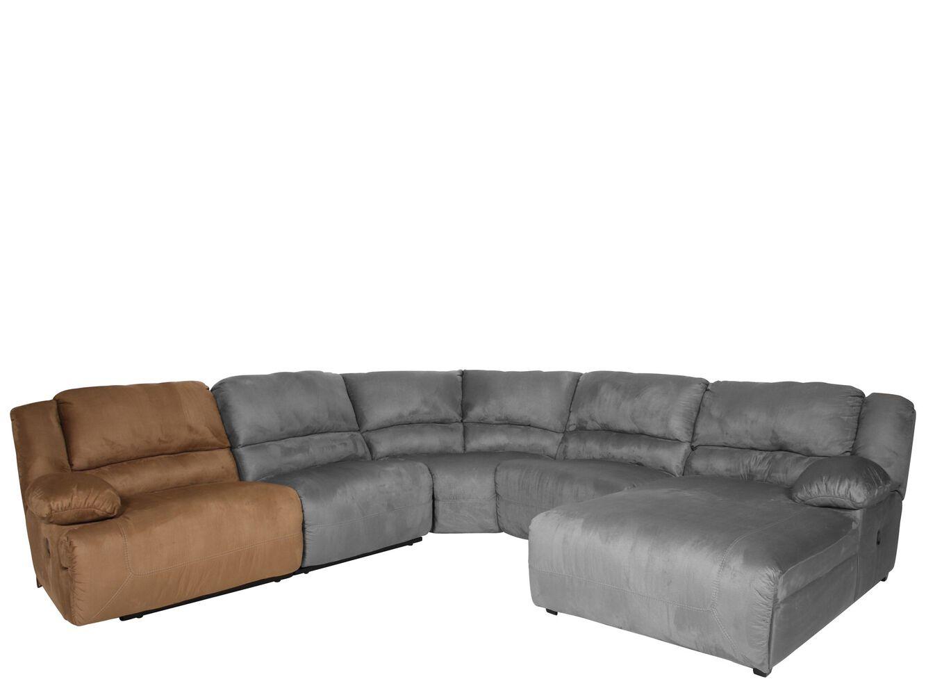 Microfiber 40 left arm facing zero wall recliner in mocha for Ashley furniture hogan chaise