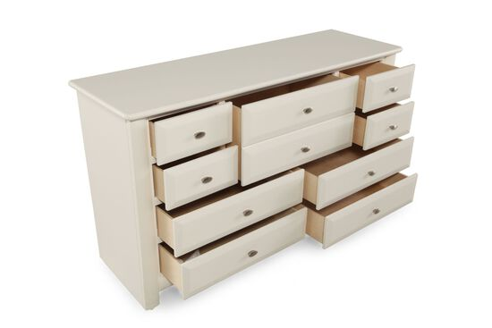Nine-Drawer Contemporary Youth Dresser in White