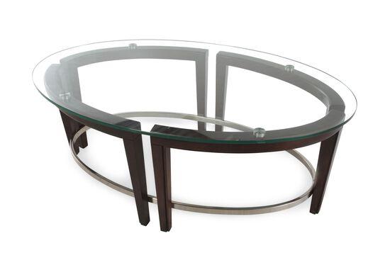 Glass-Top Oval Contemporary Cocktail Tablein Hazelnut
