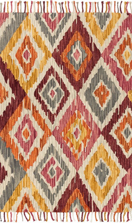 """Contemporary 1'-6""""x1'-6"""" Square Rug in Silver/Sunset"""