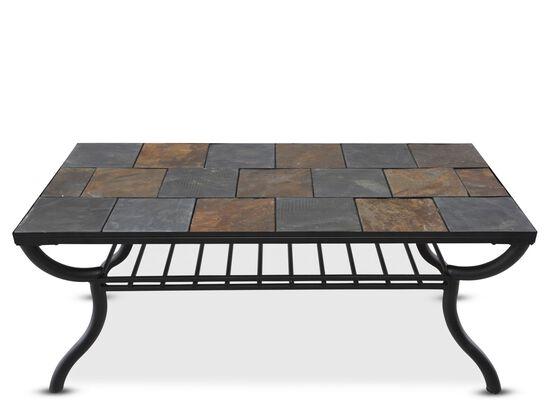 Tile-Top Rectangular Cocktail Tablein Gunmetal