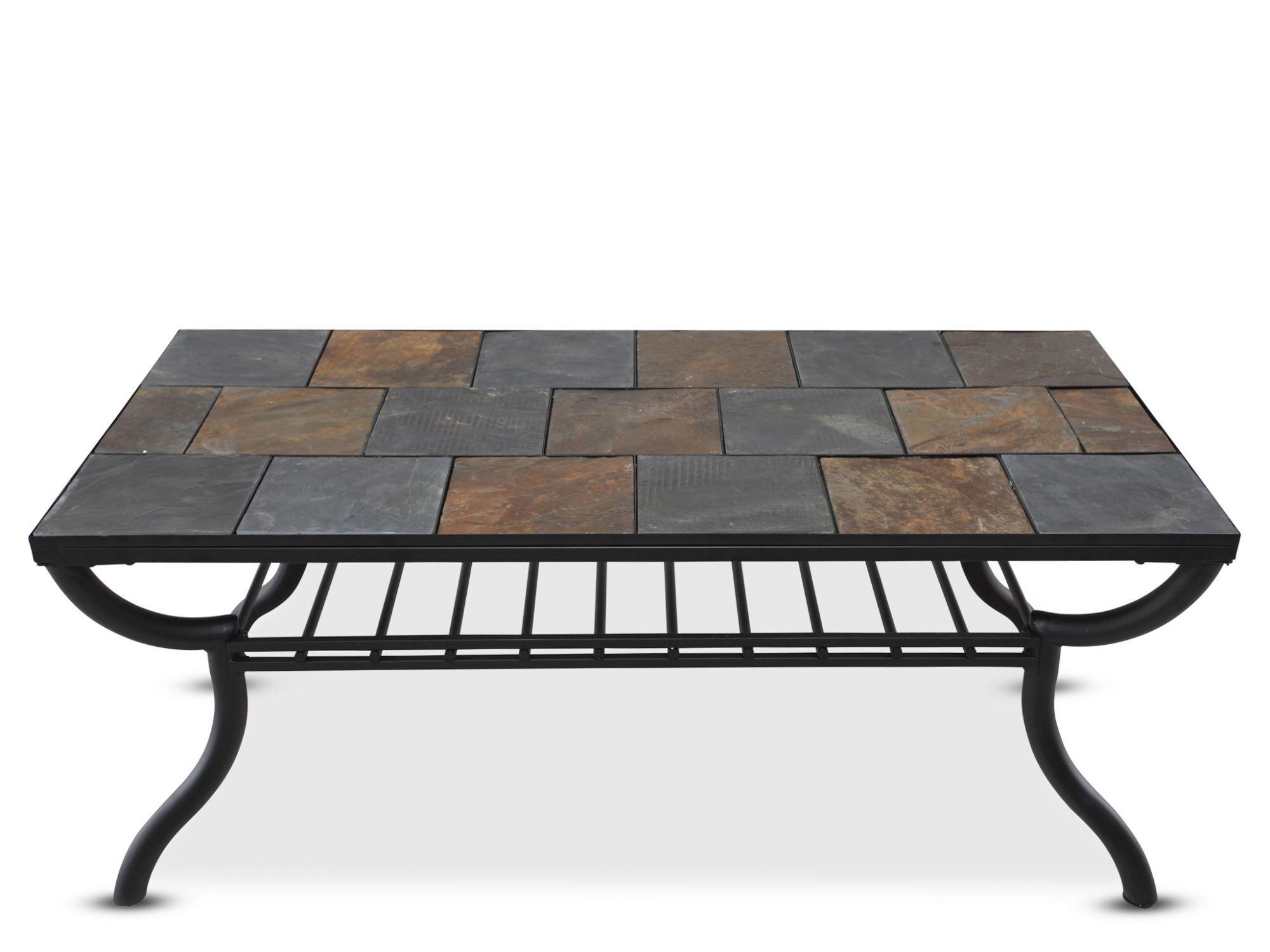 Delightful Tile Top Rectangular Cocktail Tableu0026nbsp;in Gunmetal