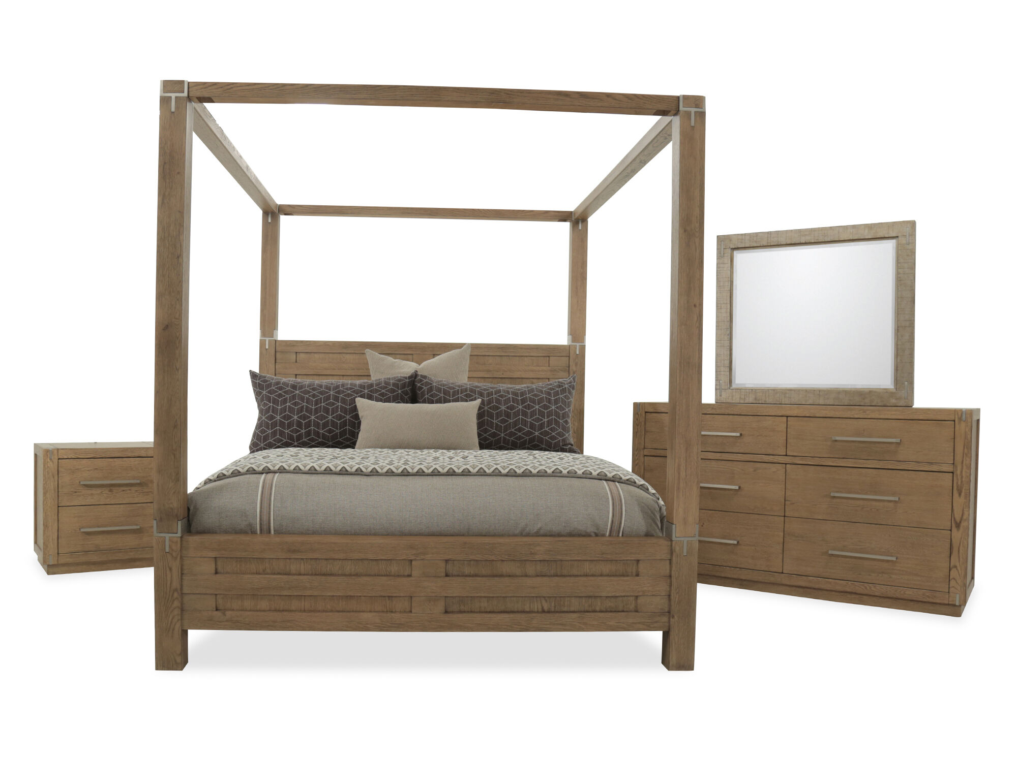 Four Piece Modern Canopy Bedroom Set In Brown
