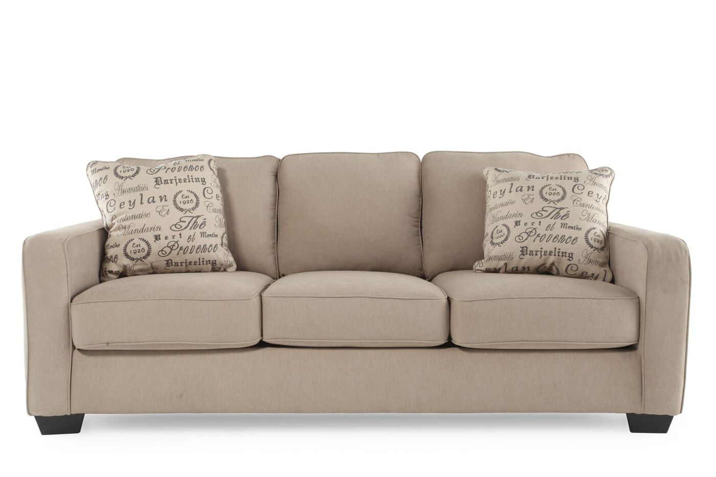 Casual 84 sofa in mushroom mathis brothers furniture for Casual couch