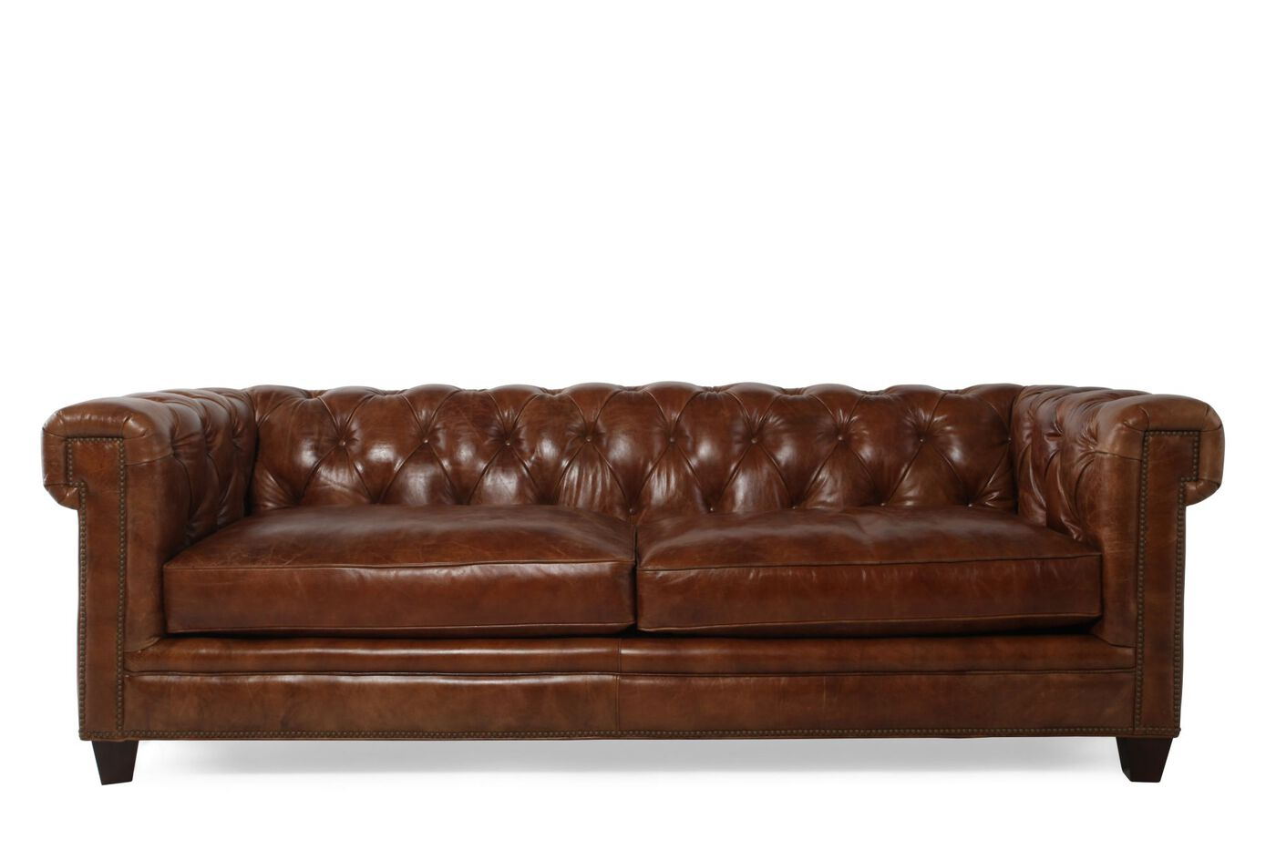 Button tufted leather 90 sofa in saddle brown mathis for Sofa upholstery