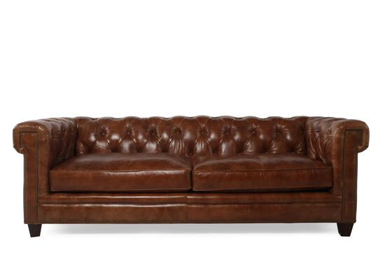 "Button-Tufted Leather 90"" Sofa in Saddle Brown"