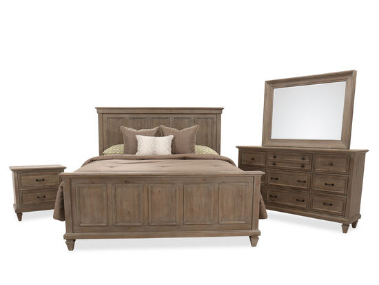 Four-Piece Transitional King Bedroom Suite in Dovetail Gray