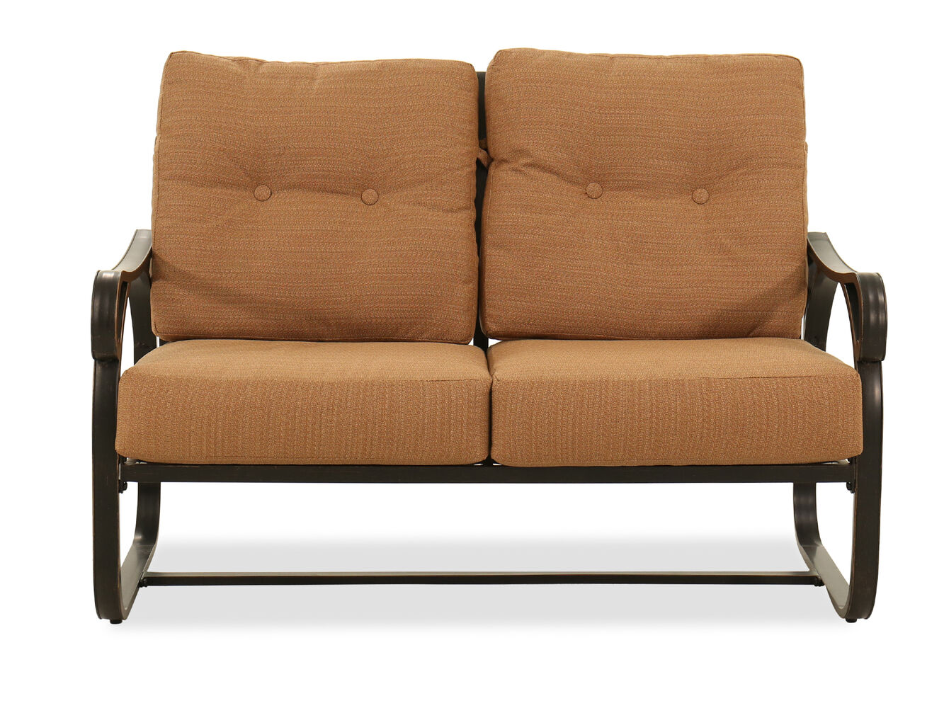 Button Tufted Aluminum Loveseat In Brown Mathis Brothers Furniture