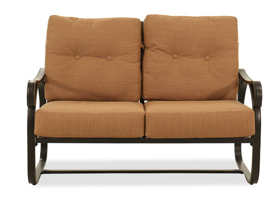 Button-Tufted Aluminum Loveseat in Brown