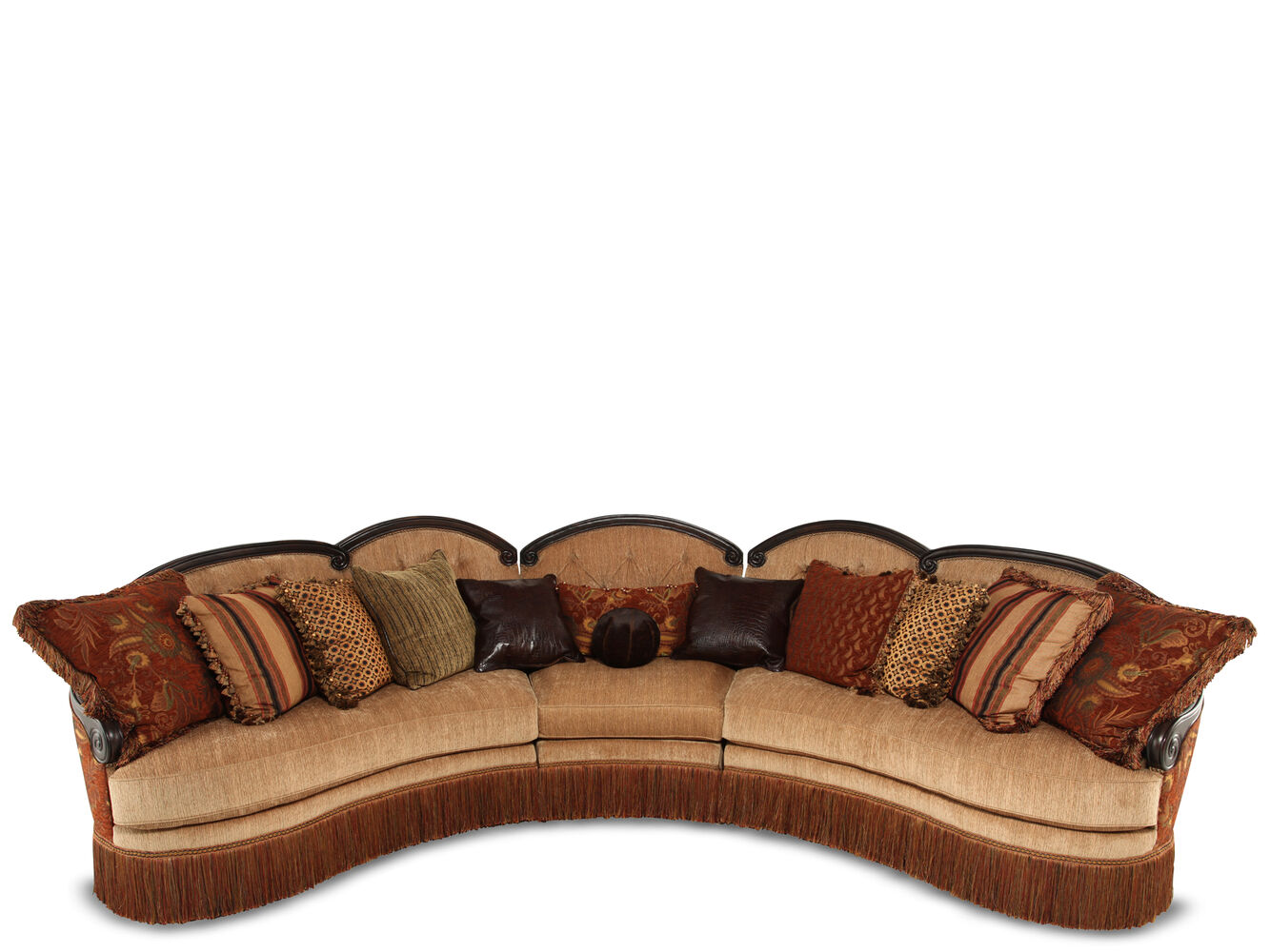 Images Three Piece Traditional 190 Sectional In Golden Brown