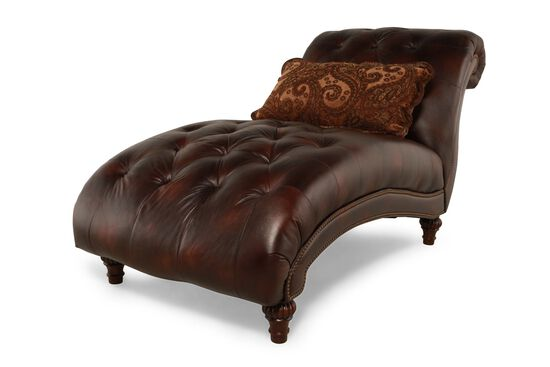 Button-Tufted Traditional Curved Chaise in Chestnut