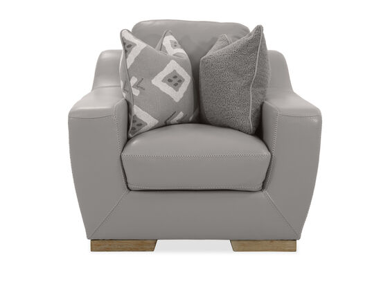 Straight Arm Leather Chair in Grey