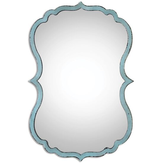 "27"" Curved Frame Mirror in Antiqued Light Blue"