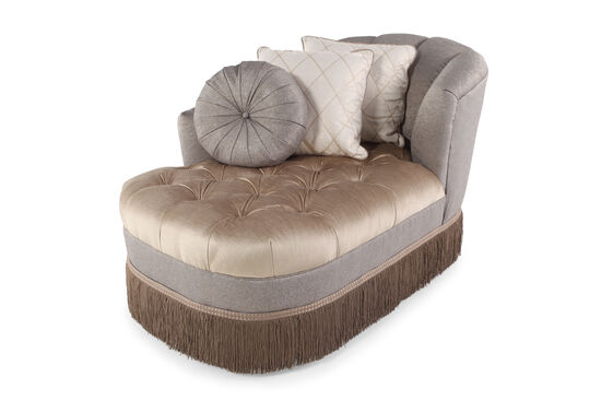 Fringed Skirt Traditional Tufted Chaise in Champagne