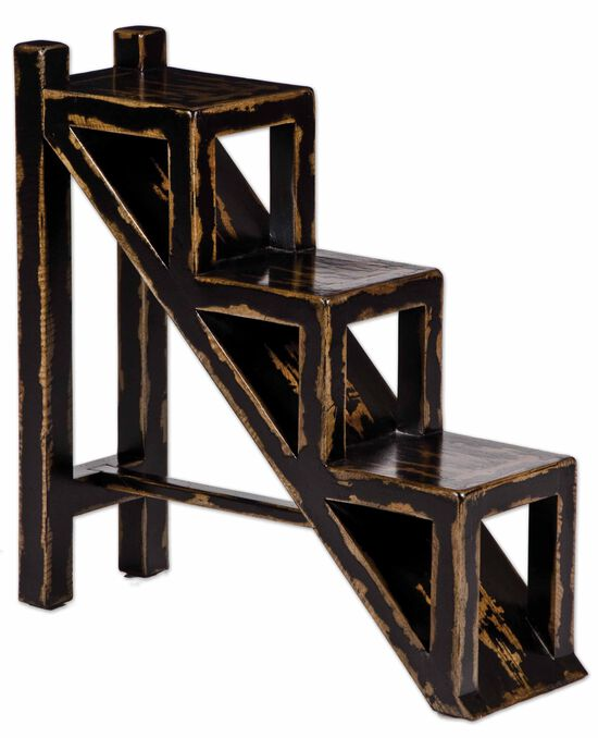 Hand-Painted Stepped Accent Table in Black