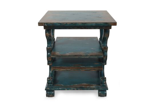 Scrolled Sides Casual Accent Table in Azure Blue