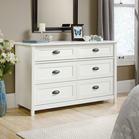"33"" Contemporary Paneled Six-Drawer Dresser in Soft White"