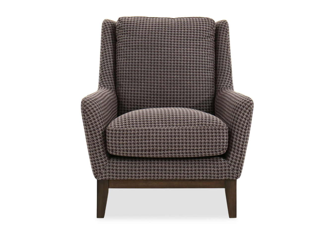 Houndstooth patterned casual 33 chair in brown mathis for Patterned living room chair