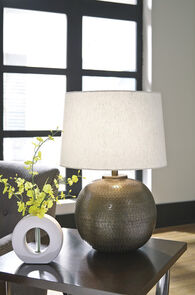 Ashley Darva Antique Brass Finish Metal Table Lamp
