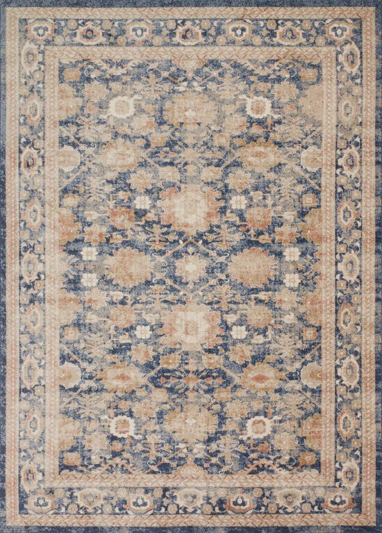 """Traditional 1'-6""""x1'-6"""" Square Rug in Navy"""