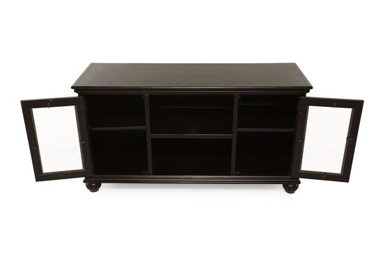 Two-Glass Door Transitional Console in Satin Black