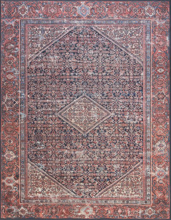 """Traditional 1'-6""""x1'-6"""" Square Rug in Navy/Red"""