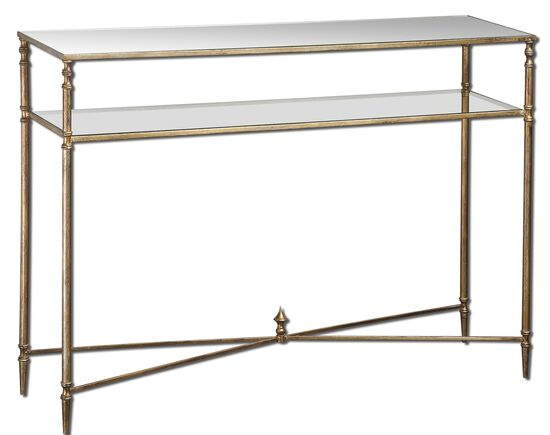 Mirrored Glass Console Table in Antiqued Gold Leaf