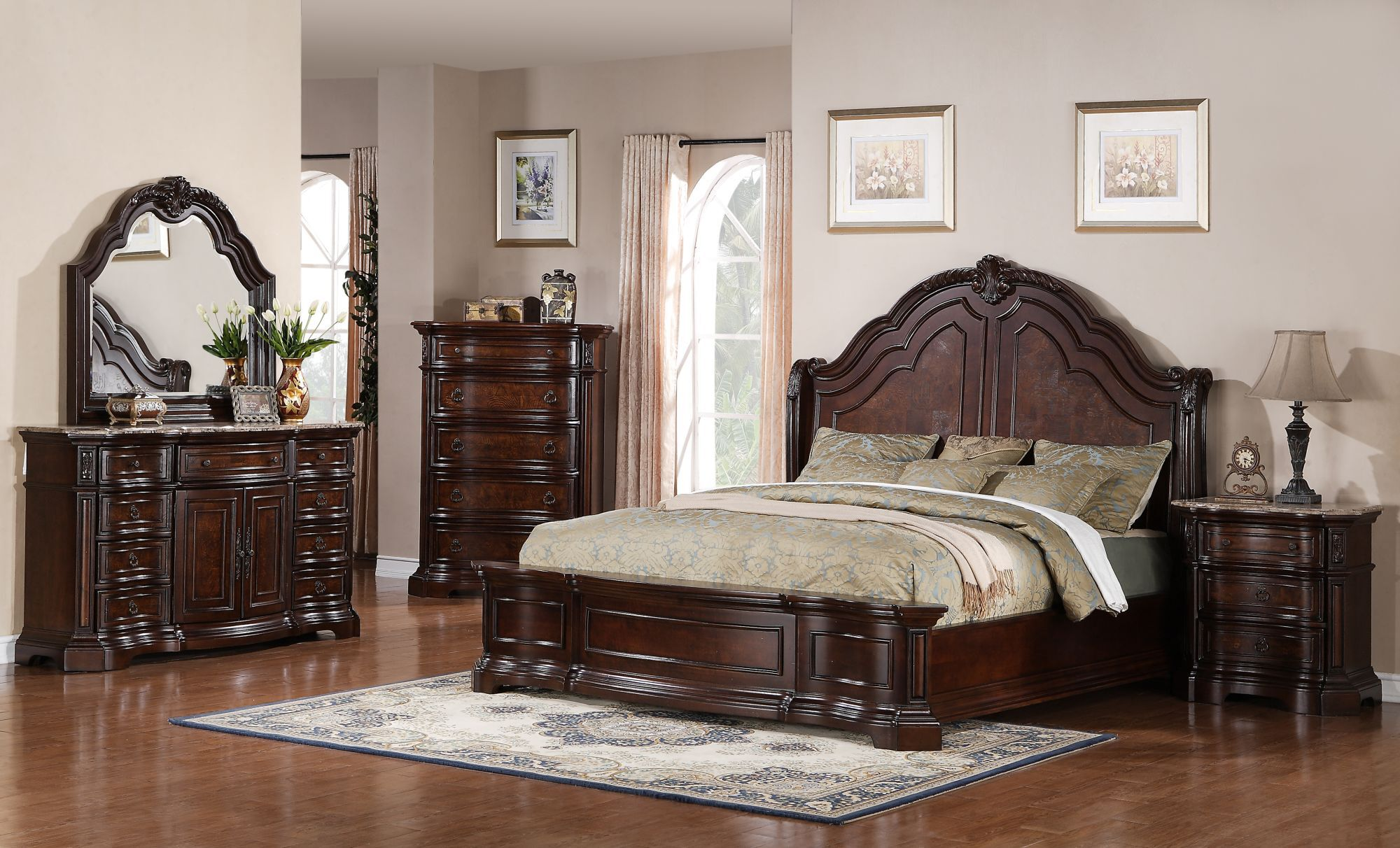 Captivating Four Piece Traditional Bedroom Set In Deep Cherry