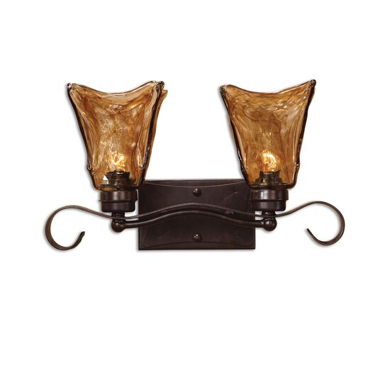 Two-Bulb Hand-Made Art Glass Vanity Strip Light in Bronze