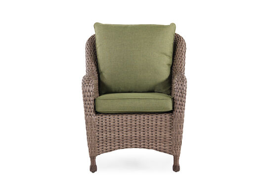 Curved Arm Contemporary Dining Chair in Olive