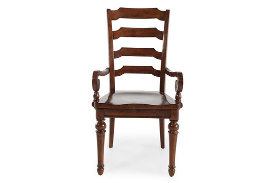 Two-Piece 40'' Scrolled Arm Chair Set in Roasted Chestnut