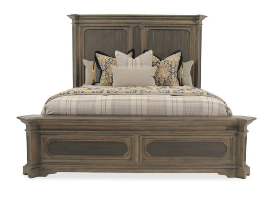 "74.5"" Traditional Distressed King Panel Bed in Brown"