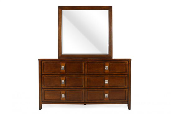 Two-Piece Traditional Dresser and Mirror in Pecan