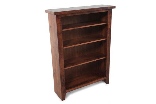 Casual Adjustable Shelf Open Bookcase in Medium Brown