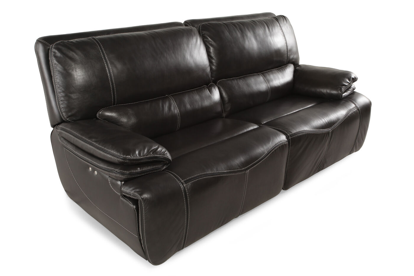 Power Reclining Leather 43 Sofa In Gray Mathis Brothers Furniture ~ Recliner Leather Sofa Deals