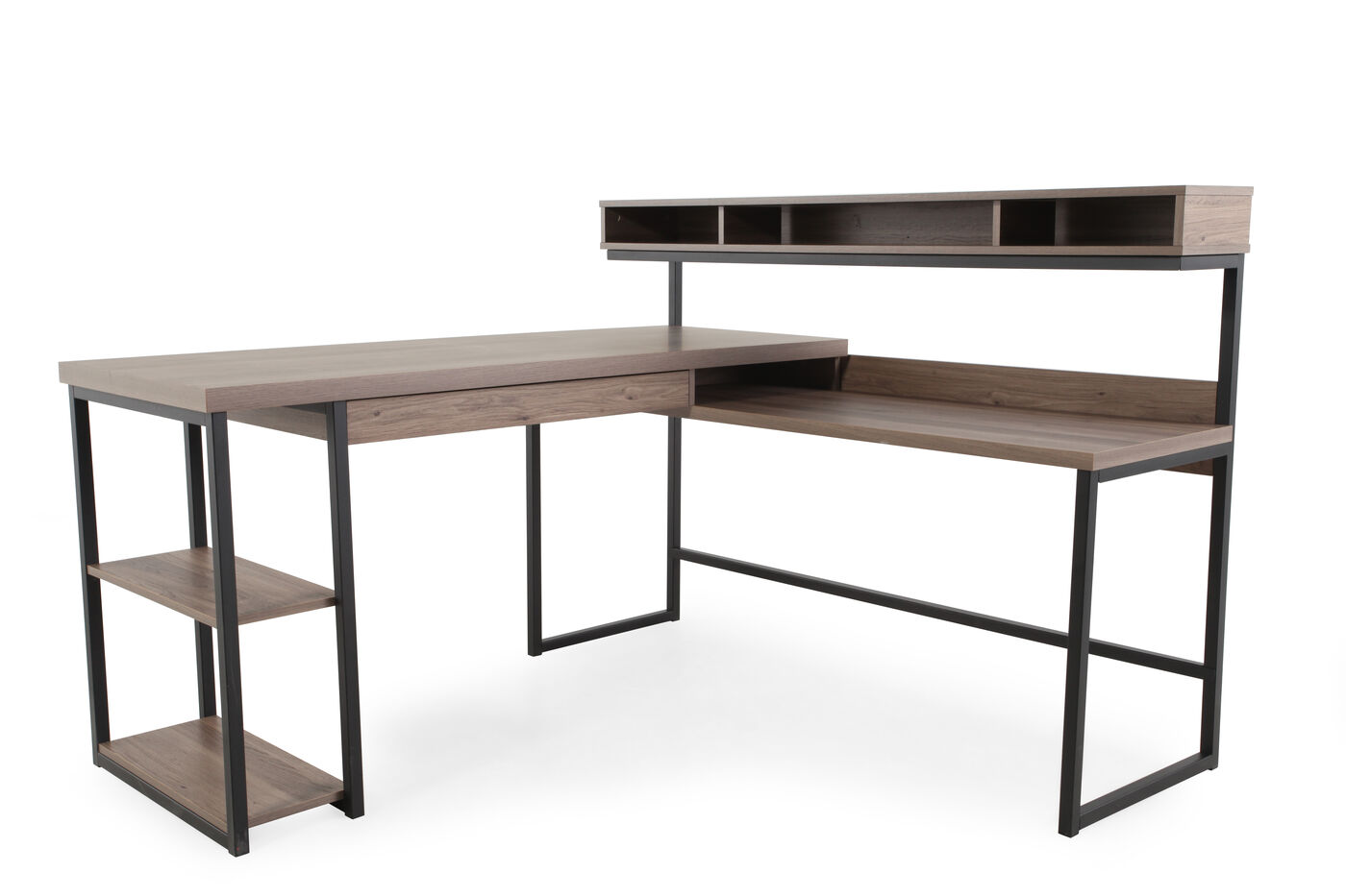 61 Quot Casual L Shaped Desk In Salt Oak Mathis Brothers