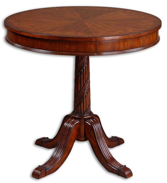 Carved Base Round Table in Pecan