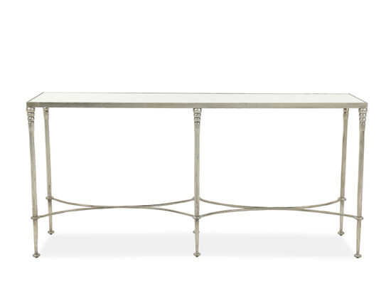 Antiqued Glass Top Casual Console Table in Silver