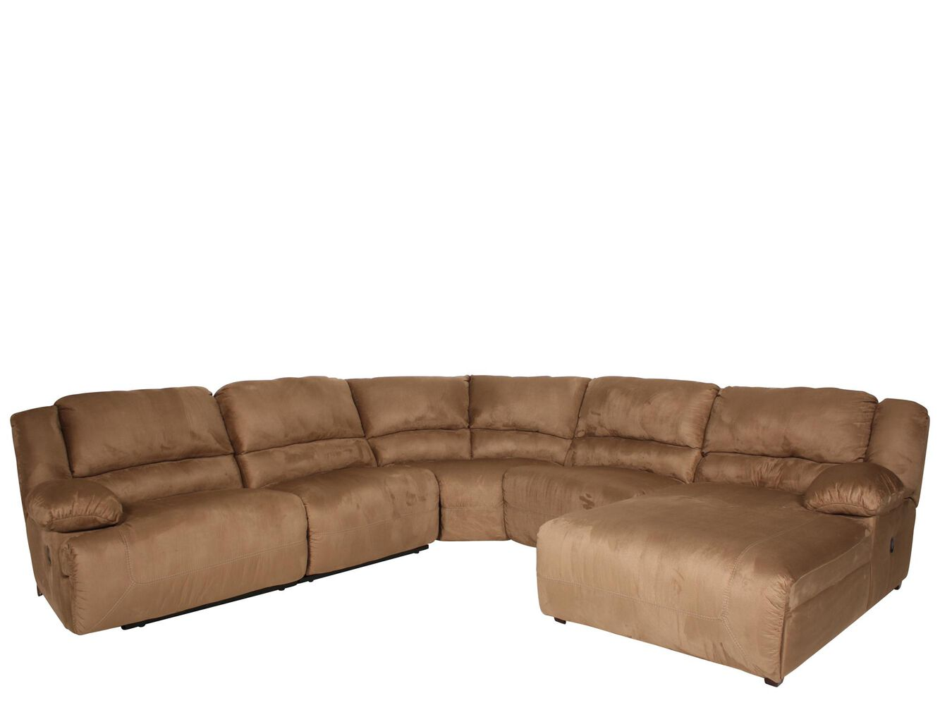 Microfiber 47 Reclining Sectional In Warm Earth Mathis Brothers