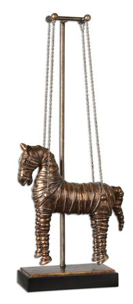 Hanging Horse Sculpture in Copper Bronze