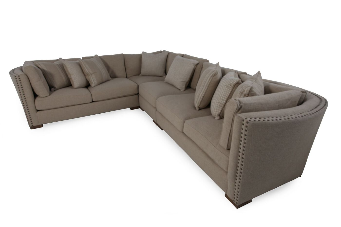 Leather 120 Quot Sectional In Brown Mathis Brothers Furniture