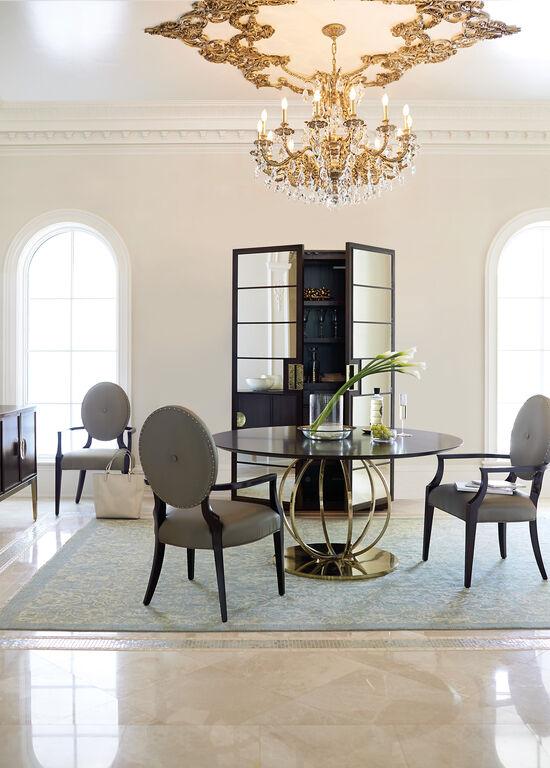 "Modern Tubular Steel Base 60"" Round Dining Table in Caviar"