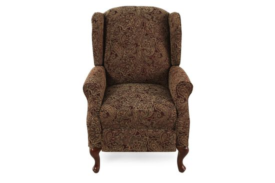 """Traditional Paisley-Patterned 30"""" High-Leg Recliner"""
